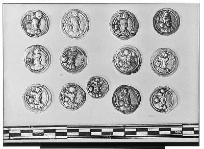 Obverse of Eleven Sasanian Coins, Including Several of King Ardashir II, King Shapur III, and King Bahram IV [graphic]