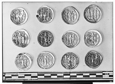 Reverse of Twelve Sasanian Coins, Including Several of King Kavadh I, King Zamasp, and King Valkash [graphic]