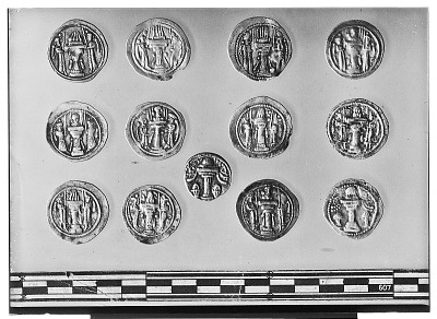 Reverse of Eleven Sasanian Coins, Including Several of King Ardashir II, King Shapur III, and King Bahram IV [graphic]