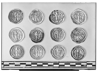 Reverse of Twelve Sasanian Coins, Including Several of King Kavadh II [graphic]