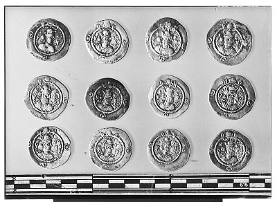 Obverse of Twelve Sasanian Coins, Including Several of King Kavadh II [graphic]