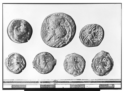 Obverse of Seven Arsacid Coins of the Parthian Empire [graphic]