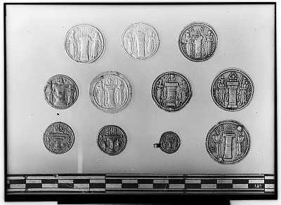 Reverse of Eleven Sasanian Coins, Including Several of King Narseh, King Hormizd II, and King Shapur II [graphic]