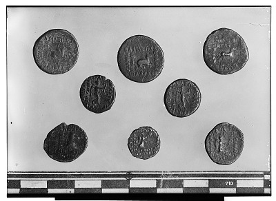 Reverse of Eight Coins Depicting Human Figures or Animal Design [graphic]