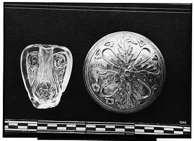 Small Parthian Silver Bowl with Elaborate Ornamentation; and Rock Crystal Mace Head (?) [graphic]