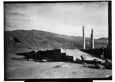 Excavation of Persepolis (Iran): Apadana, North Side, Central Facade of Ceremonial Stairway: View before Excavation [graphic]
