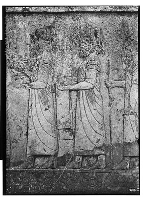 Excavation of Persepolis (Iran): Apadana, North Side, West Wing of Ceremonial Stairway with Reliefs Depicting Tribute Procession: Detail View before Excavation [graphic]