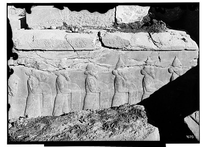Excavation of Persepolis (Iran): Palace H (Palace of Artaxerxes), East Stairway: View of Relief Picturing Procession of Persian and Median Servants [graphic]