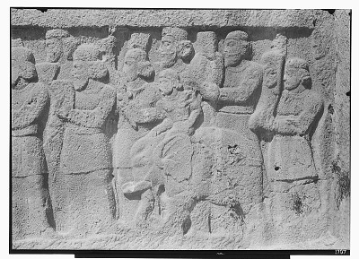 Bishapur (Iran): Sassanid Reliefs, in Two Horizontal Registers: Panoramic View of Lower Register (right side) Depicting a Presumably [graphic]