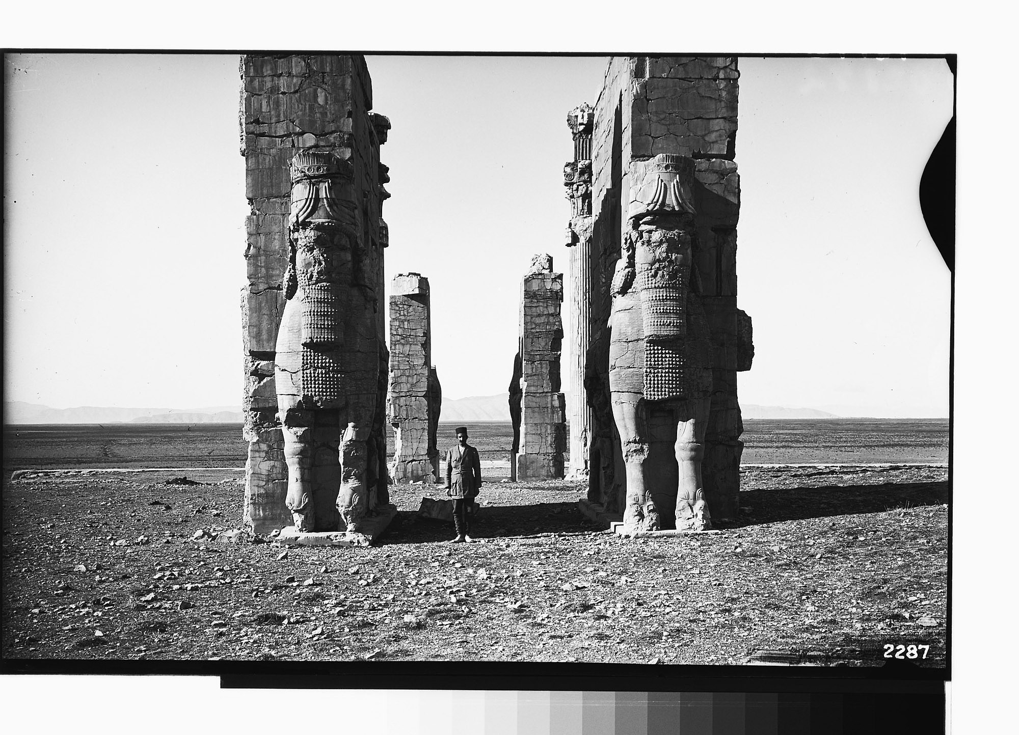 images for Excavation of Persepolis (Iran): Gate of All Lands, Colossal Sculptures Depicting Man-Bulls: View before Excavation, Looking West graphic