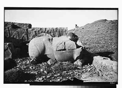 Excavation of Persepolis (Iran): Hadish (Palace of Xerxes), Eastern Stairway: View of Sculpture Depicting an Animal, before Excavation [graphic]