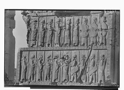 Excavation of Persepolis (Iran): Throne Hall, Northern Wall, West Jamb of Western Doorway: View of Second and Third Register Picturing Persian and Median Guards [graphic]
