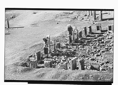 Excavation of Persepolis (Iran): Panoramic View of the Throne Hall before Excavation [graphic]