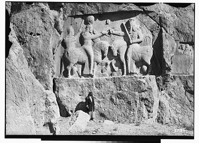 Naqsh-i Rustam (Iran): Sassanid Reliefs Showing the Investiture of Ardashir I by the God Ahura Mazda (Hormizd), and Trilingual Inscription of the High Priest Kartir on King's Horse [graphic]