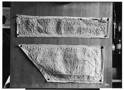 Palmyra (Syria): View of Two Paper Squeezes of Bilingual Inscriptions in the Palmyrene Dialect of Aramaic (Syriac Script) and in Greek [graphic]