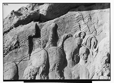 Naqsh-i Rajab (Iran): Sasanian Rock Reliefs Picturing Shapur I, Mounted, with Suite on Foot, Detail View of Persons of the Suite, [graphic]