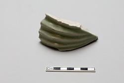 Sherd, whitish body; celadon-green glaze
