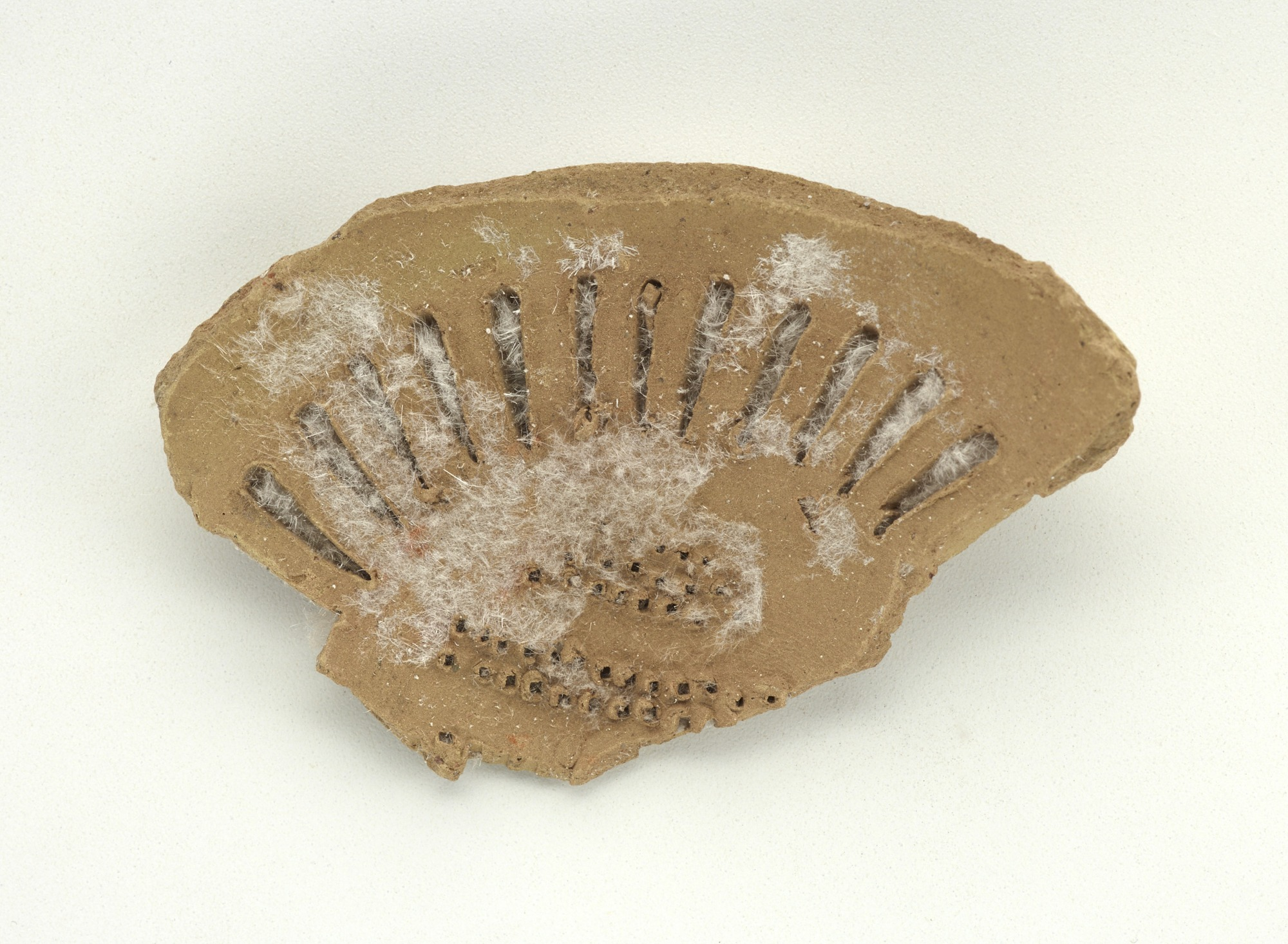 FSC-P-4021; Sherd, buff body, unglazed; black and blue underglaze