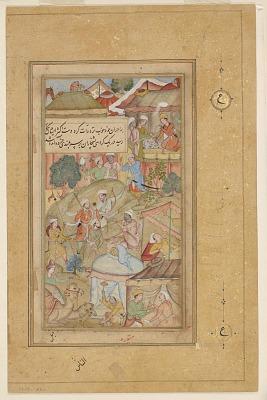 Detached folio from a Baburnama; recto:The Emperor Babur and his men pitching camp, folio from a Baburnama; verso: text