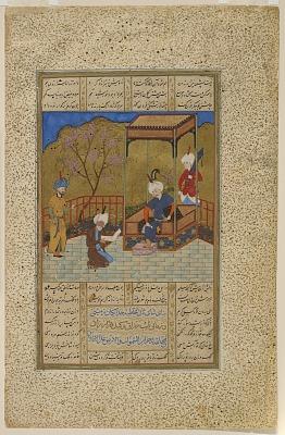 Folio from a <em>Khamsa</em> (Quintet) by Amir Khusraw Dihlavi; verso: Amir Khusraw presents a book of poetry to Ala'uddin Khalji; recto: text