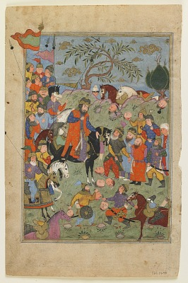 Folio from a <em>Shahnama</em> (Book of kings) by Firdawsi (d.1020); recto: Battle scene; verso: Piran's advice to Afrasiyab