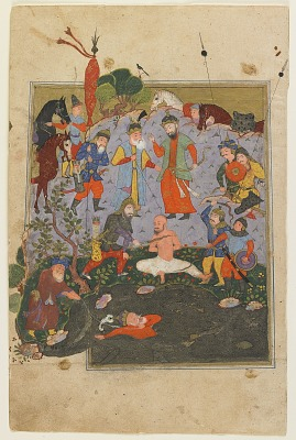 Folio from a <em>Shahnama</em> (Book of kings) by Firdawsi (d.1020); recto: Garsivaz being flogged while Afrasiyab is dragged from the lake; verso: Afrasiyab's night raid to Kay Khusraw's camp