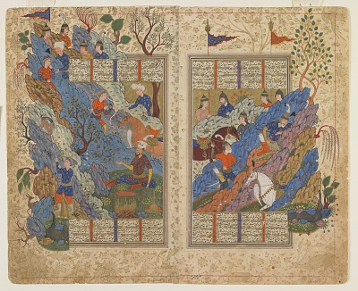 Folio from a <em>Shahnama</em> (Book of kings) by Firdawsi (d.1020); verso: Gudarz slays Piran on the mountain; recto: text