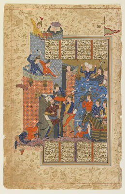 Folio from a <em>Shahnama</em> (Book of kings) by Firdawsi; recto: Rustam and his men attack Afrasiyab's palace; verso: text