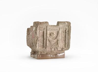 Rectangular incense burner with recessed paneling imitating architecture (fragment)