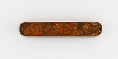 Pen case with scene of a visit to a sage and pastoral landscapes