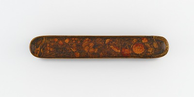 Pen case with flowers, birds, and hazelnuts