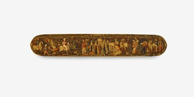 Pen case with Armenian priests and Europeans