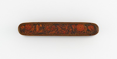 Pen case with flowers, birds, and butterfly