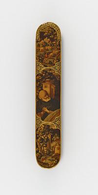 Pen case with elderly saint and riverine landscapes