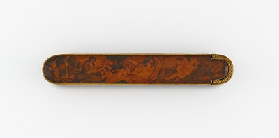 Pen case with a reclining woman and a child