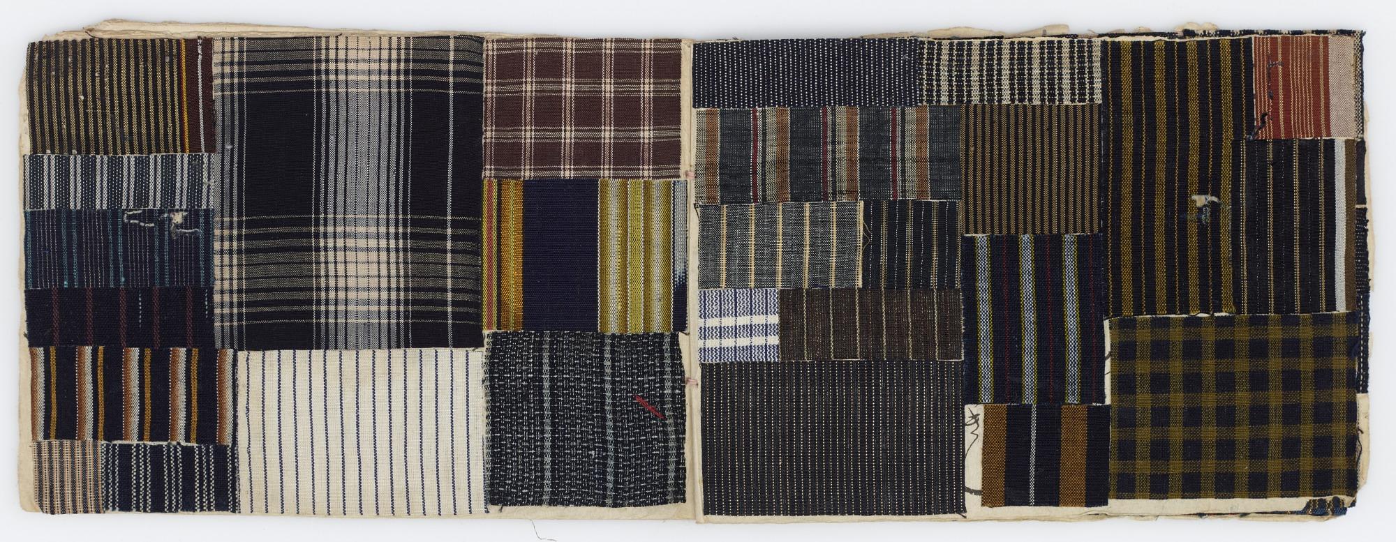 Notebook containing textile scraps
