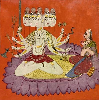 Sadashiva worshipped by Parvati