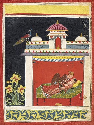 Two lovers in a pavilion, from an <em>Amarushataka</em> (Hundred poems of Amaru), or an unidentified erotic series
