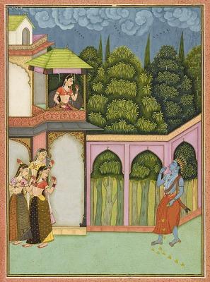 Krishna approaches Radha, folio from a <em>Rasikpriya</em>
