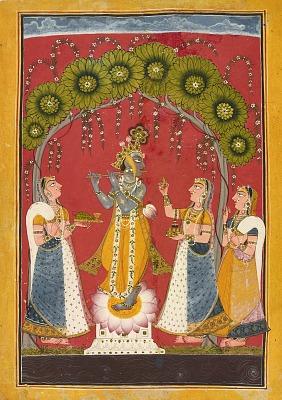 Krishna fluting, folio from a Dasavatar series