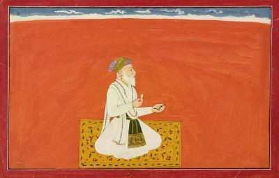 "The sage-physician Dhanvantari, folio from the ""Sixth"" <em>Bhagavata Purana</em> series, also known as the ""small"" Guler-Basohli series"