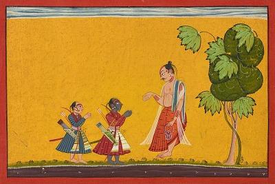 Rama and Lakshman with the sage Vishvamitra, from a <em>Ramayana</em>