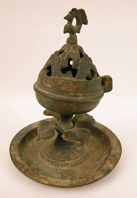 Incense burner in the form of a lotus, with rooster finial