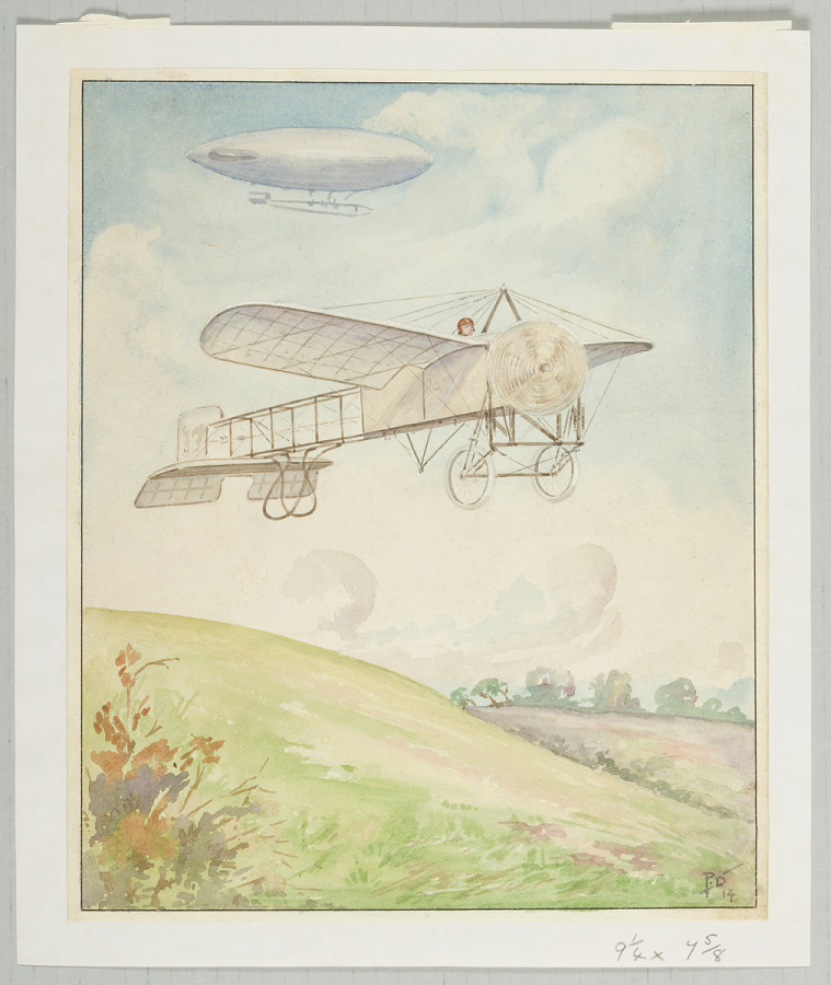 Painting, Watercolor on Paper, UNTITLED [BLERIOT'S MONOPLANE IN FLIGHT]