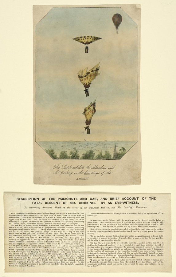 This Sketch exhibits the Parachute with Mr. Cocking in the three stages of the descent.