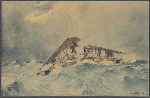 Hydravion français au secours d'un autre hydravion en détresse. Aviation maritime de Dunkerque – Mai 1916