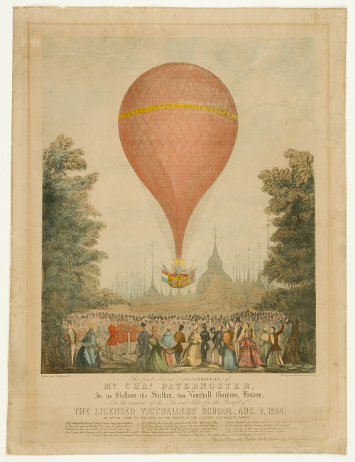 The first Ascent (unaccompanied) of Mr. Chas Paternoster, In his Balloon the Sultan, from Vauxhall Gardens, London