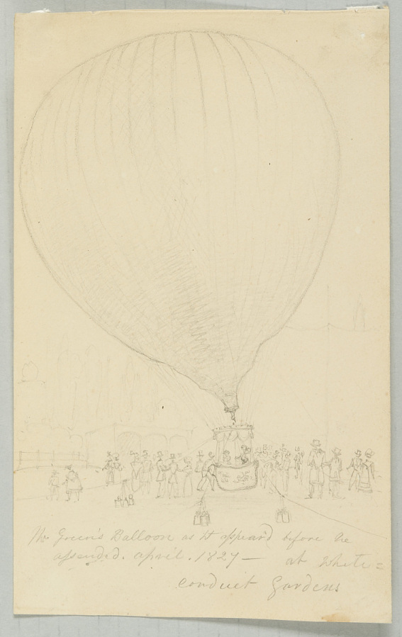 Drawing, Pencil on Paper, Uncolored, MR. GREEN'S BALLOON AS IT APPEARED BEFORE HE ASCENDED, APRIL, 1827-- AT WHITE CONDUIT GARDENS
