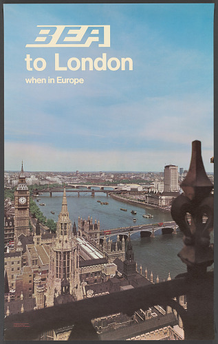 Poster, Advertising, Commercial Aviation, BEA TO LONDON WHEN IN EUROPE