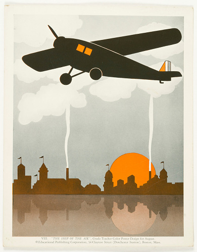 VIII. 'The Ship of the Air', Grade Teacher Color Poster Design for August.